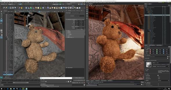 左側の「Autodesk Maya」による編集内容が、右側の「Omniverse」の画面に即座に反映される