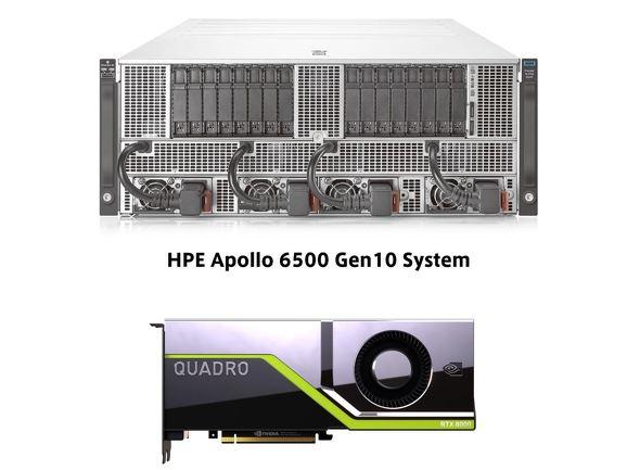 RTX サーバー向けとしてHPEが販売する「HPE Apollo 6500 Gen10」(上)と「NVIDIA  Quadro RTX 8000」(下)