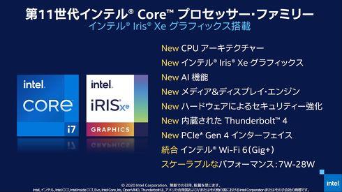 新発表した「第11世代インテル Core プロセッサ ファミリー」(Tiger Lake)[クリックして拡大]出典:インテル