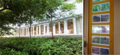 調光ガラスを設置する施設の窓と取り付けが済んだ調光ガラス