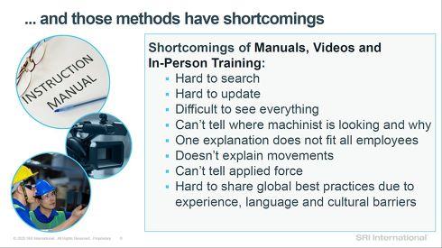 従来の知識伝達手法にはいくつかの短所がある[クリックして拡大]出典:SRIインターナショナル