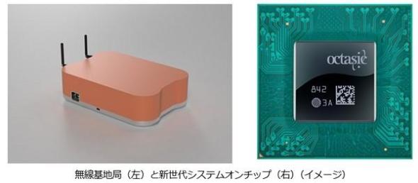 パナソニックが開発を進める5G対応の無線基地局(左)とオクタジックジックのSoC(右)