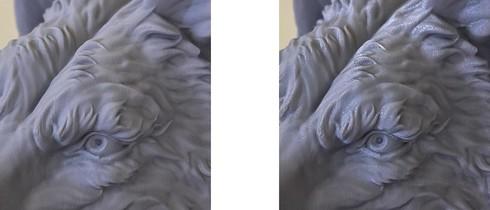 左が「MODELA:PLA」を用いた造形サンプル、右が通常のPLAフィラメント(ライトグレー ノンクリア)