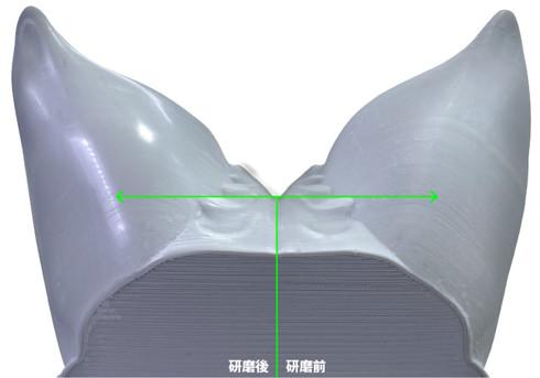 研磨前(右半分)と研磨後(左半分)の仕上がりの違いについて
