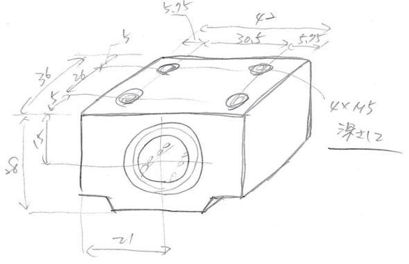 ポンチ絵に外形寸法と取り付け穴の位置を描く