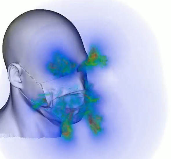 マスクから飛沫が飛び出る様子のシミュレーション