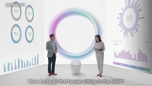 「CES 2021」のプレゼンテーション動画でウェルネストイレについて説明するTOTOの中村良次氏