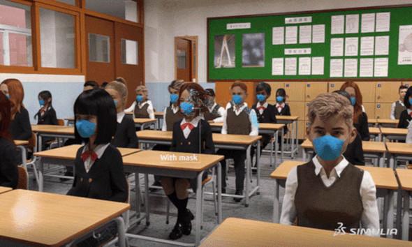 ダッソー・システムズは「SIMULIA」を用いて、教室環境における飛沫の影響などをシミュレーションした