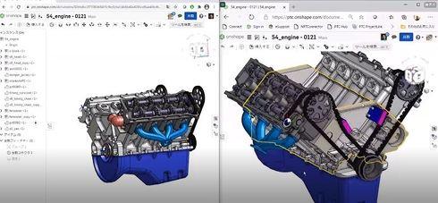 それぞれがOnshape上で同じ3Dモデルを開いている様子