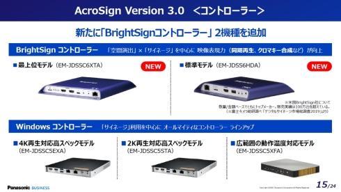 「AcroSign 3.0」ではBrightSignのコントローラーに対応した