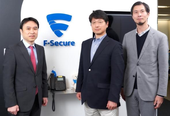 左から、加賀FEIの吉田稔氏、エフセキュアの島田秋雄氏、目黒潮氏