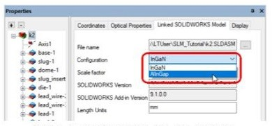 「LightTools」内で「SOLIDWORKS」のコンフィギュレーションの割り当てが可能に