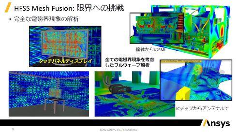 Mesh Fusion技術によって、小さなモデルと大きなモデルが混在したものでも安定したメッシュ生成が行え、精度の良い電磁界解析が可能になった
