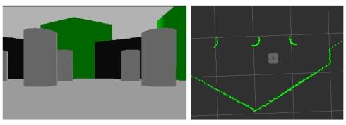 カメラで撮影した画像と測距センサーから得た距離情報