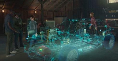 自動車の3Dモデルを前に設計レビューを行っている様子。離れた場所にいる関係者もアバターとしてMR空間に投影され、同じ場所での仮想的なコラボレーションを実現できる