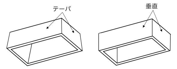 量産部品ならではの形状(左)と、手作り部品ならではの形状(右)