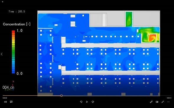 建物内の気流や飛沫の経路を可視化