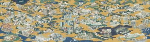 「Lumada Innovation Hub Tokyo」の設計コンセプトとなる「洛中洛外図」