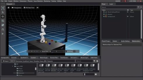 ビューポートにアームロボットのpandaが表示される