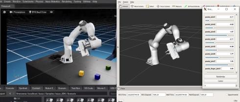 Isaac SimとRVizのアームロボットが連動