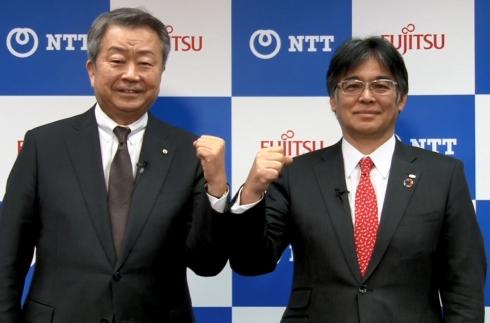 会見に登壇したNTTの澤田純氏(左)と富士通の時田隆仁氏(右)