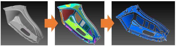 リバースエンジニアリングにおける面構成の作成イメージ