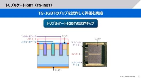 東芝が開発したトリプルゲートIGBTの構造と試作チップ
