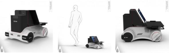 「Gait Analysis Robot Medical Health Measurement System」の外観と利用イメージ(中央)
