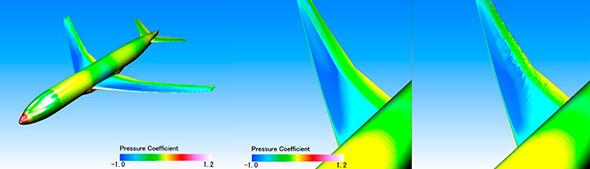 航空機モデルの遷音速圧縮性流体解析