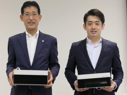 富士通ゼネラルの長谷川忠氏(左)とエアロシールドの木原寿彦氏(右)