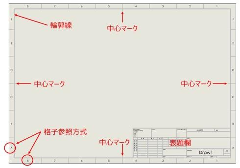 「SOLIDWORKS」のテンプレートにある図面(図枠/A3の場合)