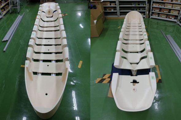 船体の大型模型(スケールモデル)を3Dプリンタで造形した(三井造船 昭島研究所の事例より)