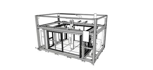 フレーム構造によって高い剛性と十分な機械精度を確保している