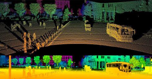「IMX459」を用いたLiDARで車両周辺の測距を行ったイメージ