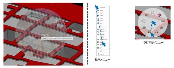 (左)スケルトン表示のイメージ/(右)ラジアルメニュー