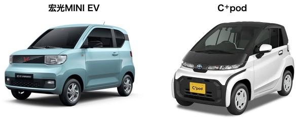 上汽通用五菱汽車の「宏光MINI EV」(左)と、同タイプのトヨタ自動車の「C+pod」(右)