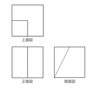 この三面図から形を想像するのに何秒かかる?