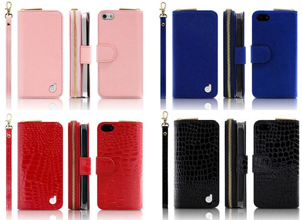 a7797a14a6 本体色はピンク(左上)、ブルー(右上)、レッド クロコ(左下)、ブラック クロコ(右下)の4種類。本体色と同色のストラップが付属する