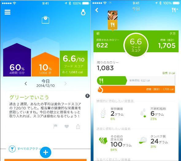 「UPアプリ」の画面。睡眠時間や歩数、フードスコアなどがグラフィカルに表示される。食事のデータベースも豊富だ