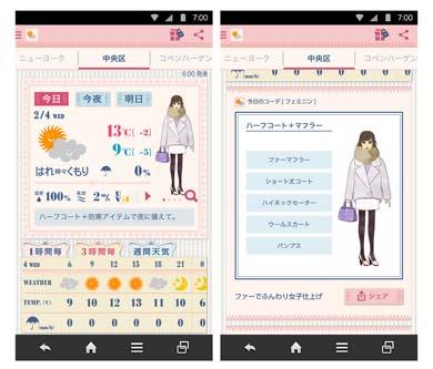 天気予報アプリ「おしゃれ天気」