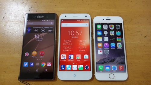 Xperia Z3、iPhone 6とのサイズ感