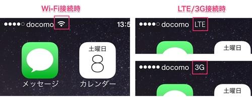 iPhoneで画面上部に表示される接続状態の例