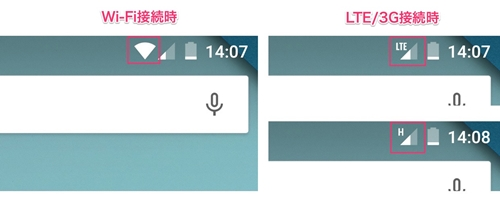 Androidで画面上部に表示される接続状態の例