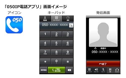 「050IP電話アプリ」画面イメージ