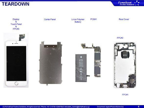 分解したiPhone 6s