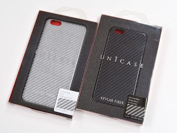 「Glass Fiber Case for iPhone6s Plus/6 Plus Silver」と「Kevlar Case for iPhone6s/6 GLOSSY Black」のパッケージ