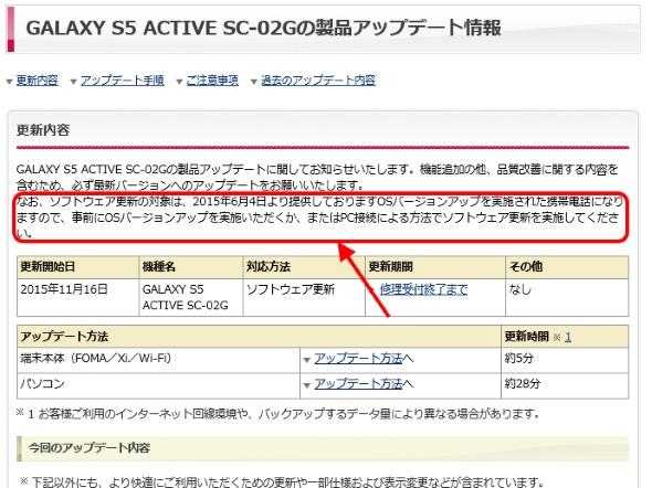 OSバージョンアップ後のソフトウェア更新