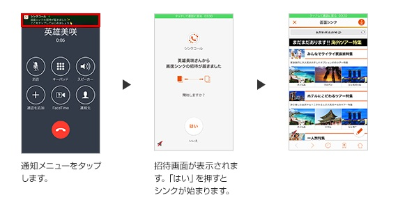 iPhone版シンクコールの操作イメージ(着信側)