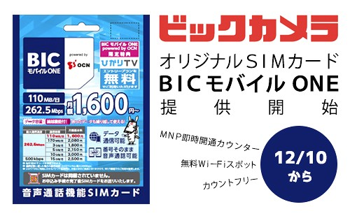 BIC モバイル ONE powerd by OCN