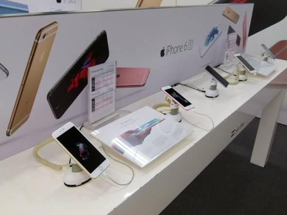 販売店のiPhoneコーナー